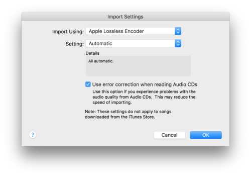 iTunes import settings dialog box