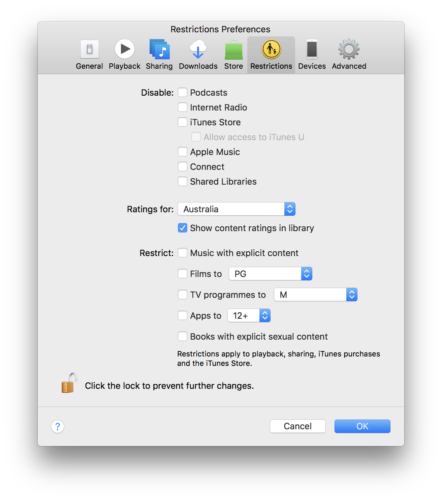 iTunes preferences for restrictions